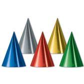 144 Units of Foil Cone Hats asstd colors; medium head size; elastic attached - Party Hats/Tiara