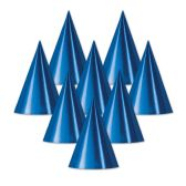 48 Units of Foil Cone Hat blue; medium head size; elastic attached - Party Hats/Tiara