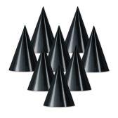 48 Units of Foil Cone Hat black; medium head size; elastic attached - Party Hats/Tiara