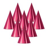 48 Units of Foil Cone Hat cerise; medium head size; elastic attached - Party Hats/Tiara