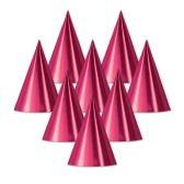 48 Units of Foil Cone Hat cerise; medium head size; elastic attached - Party Hats & Tiara