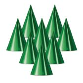 48 Units of Foil Cone Hat green; medium head size; elastic attached - Party Hats/Tiara