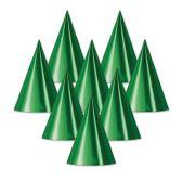 48 Units of Foil Cone Hat green; medium head size; elastic attached - Party Hats & Tiara