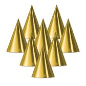 48 Units of Foil Cone Hat gold; medium head size; elastic attached - Party Hats/Tiara