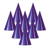 48 Units of Foil Cone Hat purple; medium head size; elastic attached - Party Hats/Tiara