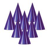 48 Units of Foil Cone Hat purple; medium head size; elastic attached - Party Hats & Tiara