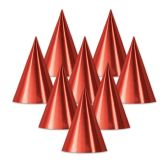 48 Units of Foil Cone Hat red; medium head size; elastic attached - Party Hats/Tiara