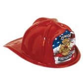 48 Units of Red Plastic Jr Firefighter Hat flag shield; medium head size; elastic attached - Party Hats/Tiara