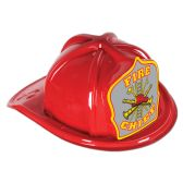 48 Units of Red Plastic Fire Chief Hat silver shield; medium head size; elastic attached - Party Hats/Tiara