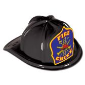 48 Units of Black Plastic Fire Chief Hat blue shield; medium head size; elastic attached - Party Hats/Tiara