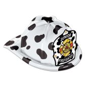 48 Units of Dalmatian Plastic Jr Firefighter Hat dalmatian shield; medium head size; elastic attached - Party Hats & Tiara