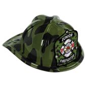 48 Units of Green Camo Plastic Jr Firefighter Hat green camo shield; medium head size; elastic attached - Party Hats & Tiara