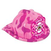 48 Units of Pink Camo Plastic Jr Firefighter Hat pink camo shield; medium head size; elastic attached - Party Hats/Tiara
