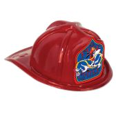 48 Units of Red Plastic Jr Fire Chief Hat dalmatian shield; medium head size; elastic attached - Party Hats/Tiara
