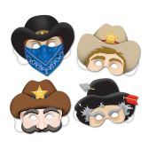 12 Units of Western Masks elastic attached - Party Hats & Tiara