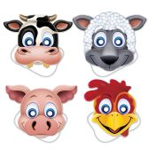 12 Units of Farm Animal Masks elastic attached - Party Hats & Tiara