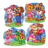 12 Units of Cuddly Critter Valentine Cutouts prtd 2 sides