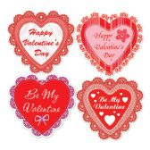 12 Units of Happy Valentine's Day Lace Heart Cutouts prtd 2 sides