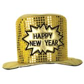 12 Units of Glitz 'N Gleam HNY Top Hat gold; one size fits most - Party Hats & Tiara
