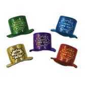 12 Units of Glitz 'N Gleam HNY Top Hats asstd colors; one size fits most - Party Hats & Tiara