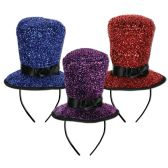 12 Units of Sparkling Top Hat Headbands asstd colors; attached to snap-on headband