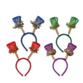 12 Units of Happy New Year Top Hat Boppers asstd colors; attached to snap-on headband