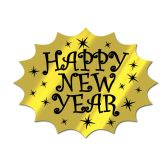 24 Units of Foil Happy New Year Cutout black & gold; foil/prtd 2 sides - Hanging Decorations & Cut Out