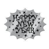 24 Units of Foil Happy New Year Cutout black & silver; foil/prtd 2 sides - Hanging Decorations & Cut Out