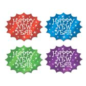 24 Units of Foil Happy New Year Cutouts asstd colors; foil/prtd 2 sides - Hanging Decorations & Cut Out