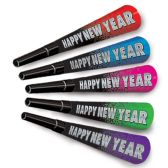100 Units of New Year Resolution Horns asstd colors w/black - Party Favors