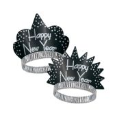 50 Units of Sparkling Silver Tiaras black & silver - Party Hats & Tiara