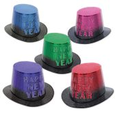 25 Units of Mirage Hi-Hats asstd colors w/black; encapsulated glitter; one size fits most - Party Accessory Sets