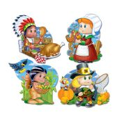 12 Units of Pkgd Thanksgiving Kiddie Cutouts prtd 2 sides - Hanging Decorations & Cut Out