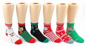 24 Units of Children's Christmas Ankle Socks - Size 4-6