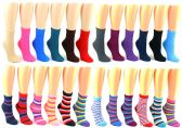 120 Units of Women's Premium Fuzzy Crew Socks - Striped & Solid Colors - Size 9-11