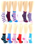 24 Units of Women's Fuzzy Ankle Socks w/ Non-Skid Grips - Assorted Prints - Size 9-11