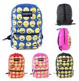 "12 Units of 17"" Classic PureSport Emoji Print Backpacks - Assorted Colors - Backpacks 17"""
