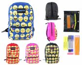 "24 Units of 17"" Classic Emoji PureSport Backpack & High School Supply Kit Sets - Backpacks 17"""