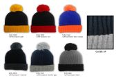 36 Units of Premium Pom Pom Winter Knit Hats - Two-Tone