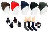 180 Units of Adult Knit Cuffed Hat, Men's Knit Gloves, & Men's Wool Blend Socks Combo