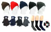 180 Units of Adult Knit Cuffed Hat, Men's Fleece Gloves, & Men's Wool Blend Socks Combo