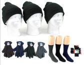 180 Units of Adult Cuffed Knit Hats, Men's Fleece Gloves, & Men's Wool Blend Socks Combo