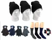 180 Units of Adult Beanie Knit Hats, Men's Fleece Gloves, & Men's Wool Blend Socks Combo