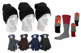 180 Units of Adult Beanie Knit Hats, Men's Fleece Gloves, & Men's Thermal Socks Combo - Winter Sets Scarves , Hats & Gloves