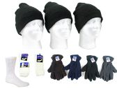 180 Units of Adult Cuffed Knit Hats, Men's Fleece Gloves, and Crew Socks Combo