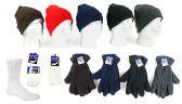 180 Units of Men's Hat, Fleece Gloves, and Crew Socks Combo