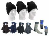 180 Units of Adult Beanie Knit Hats, Men's Fleece Gloves, & Men's Thermal Boot Socks Combo