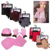 36 Units of Women's Fleece Hat, Fleece Glove, and Fleece Scarf Sets - Assorted Colors - Winter Sets Scarves , Hats & Gloves