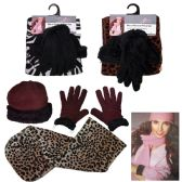 36 Units of Women's Fleece Hat, Fleece Glove, and Fleece Scarf Sets - Assorted Patterns - Winter Sets Scarves , Hats & Gloves