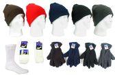 180 Units of Men's Hat, Fleece Gloves, and Tube Socks Combo - Winter Sets Scarves , Hats & Gloves